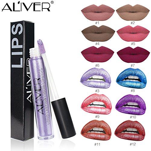 Aliver - Juego de 12 pinzas de labios líquidos para labios, impermeables, duraderas, duraderas, con brillo de labios e hidratantes: Amazon.es: Belleza