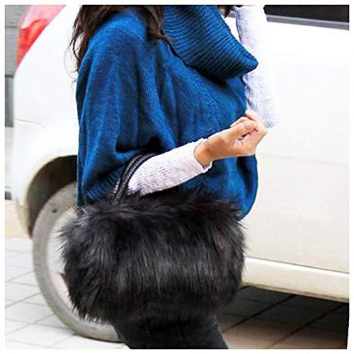 Womens Shoulder Bags Faux Rabbit Fur Handbags Women Winter Soft Shoulder Bag Famous Luxury Women Messenger Bags Female Tote Shoulder Bags Black ()