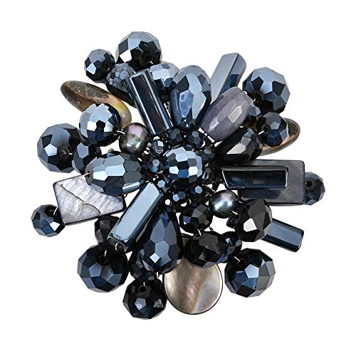 - AeraVida Midnight Marigold MOP Cultured Freshwater Pearl and Mix Stones Brooch Pin