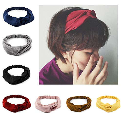 Ytzada Women 7 Pack Criss Cross Headbands Wraps Hair Bandana Elastic Fashion Head Bands Soft Turban Blue Pink Black Red