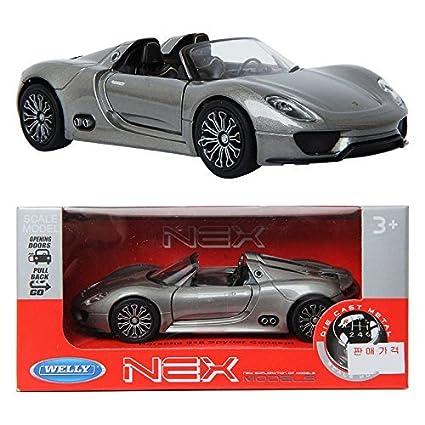 Welly 134 Porsche 918 Spyder Concept Silver Toy Die Cast Toy Model Cars