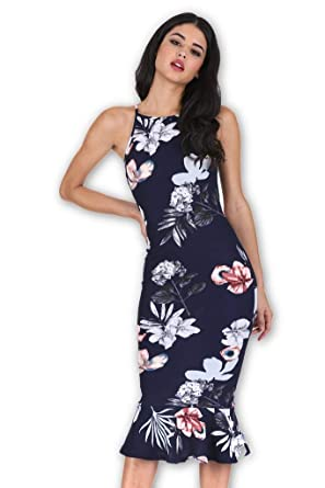 27857237aaef AX Paris Women's Floral Fishtail Hem Midi Dress at Amazon Women's Clothing  store: