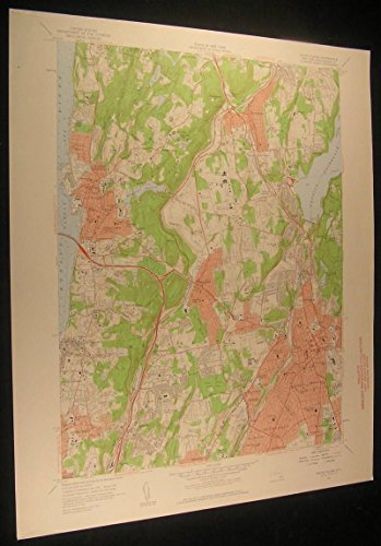 White Plains Westchester County New York 1959 antique color lithograph - Westchester The Plains White