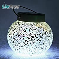 LiteFuze Mosaic Glass Rechargeable Solar Lamp Outdoor Garden Light - White
