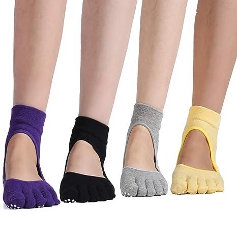 YAOBAO Calcetines De Yoga para Mujeres con Puños, Calcetines Antideslizantes De Cinco Dedos para Pilates