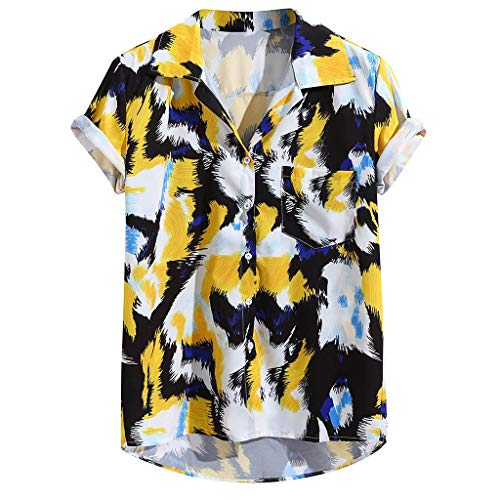 Men's Casual Button Down T-Shirt Printed Pocket Turn Down Collar Short Sleeve Shirts Tops Yellow