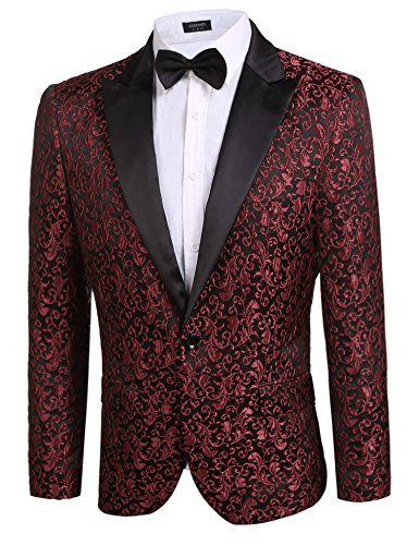 Donet Men's Floral Party Dress Suit Notched Lapel Stylish Dinner Jacket Wedding Blazer Prom Tuxedo Red Small