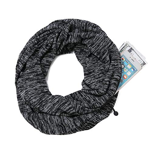 Fashion Zipper Pocket Infinity Scarf, Convertible Solid Color Scarves