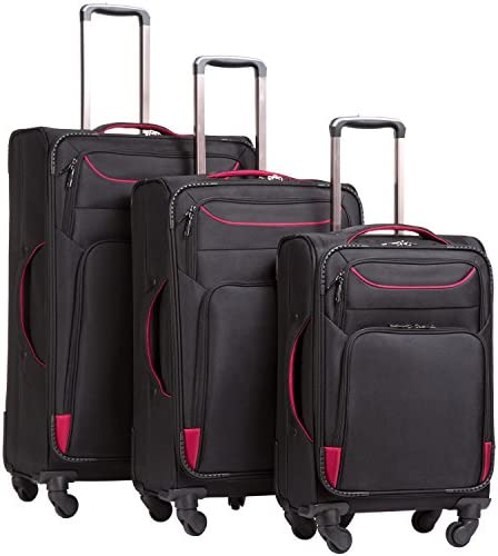 Coolife Luggage 3 Piece Set Suitcase Spinner Softshell lightweight black red