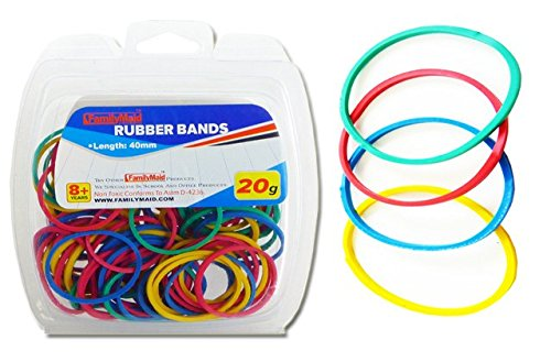 "V RUBBER BANDS 20G 60MMDB""3.75X4.4"" RED,BL,GR,YELLOW"