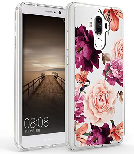 Huawei Mate 9 Case, Mate 9 Case with flowers BAISRKE Slim Shockproof Clear Floral Pattern Soft Flexible TPU Back Cove for Huawei Mate 9 [Purple Pink]