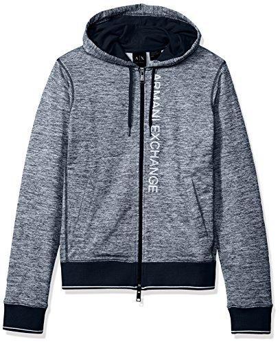 A|X Armani Exchange Men's Heathered Logo Full Zip Fleece Hoodie, Dk. Sea Htr B8275, - Sweater Armani Exchange Men