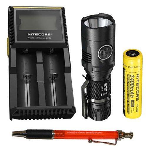 Nitecore MH20GT Rechargeable Flashlight XP-L HI V3 LED -1000 Lumens w?D2 Charger & NL189 18650 3400mAh Battery +FREE Andrew & Amanda Pen by Nitecore