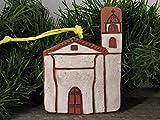 4'' Christmas Tree Ornament Santa Cruz California Mission Church Southwest Handmade Terracotta Clay Art Holiday Decor