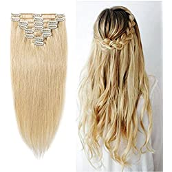 """#613 Bleach Blonde Clip in 100% Remy Human Hair Extensions 8""""-24"""" Grade 7A Quality Full Head 8pcs 18clips Long Straight for Women Fashion 16"""" / 16 inch 90g"""