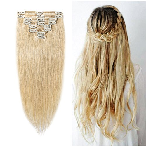 Clip in 100% Remy Human Hair Extensions #613 Bleach Blonde 8