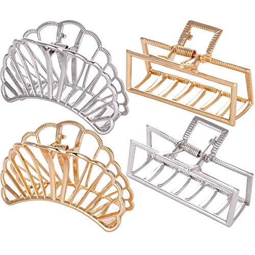 LONEEDY 4 Pack Metal Hair Claw Clips, Large Hair Catch Barrette Jaw Clamp for Women, Strong Jaw Clips for Thick Hair (Scallop + - Rectangle Scallop