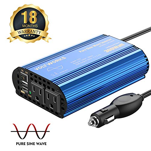 Pure Sine Wave 300Watt Car Power Inverter DC 12V to AC 120V with Dual 2.4A USB Port & AC Outlets for Smartphone Laptops