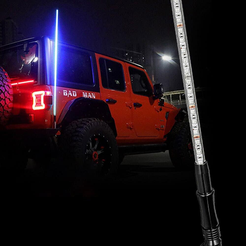 2Pcs 5FT LED Whip Lights Antenna RGB Lighted Flag Pole Off-Road For ATV RZR UTV