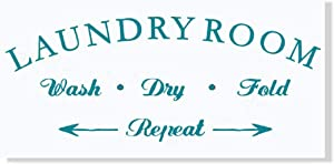 Wall Decor Laundry Room Wash Dry Fold Repeat Letters Vinyl Wall Decals 23x9-Inch Teal