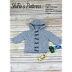 Crochet Pattern for Hooded Baby Jacket, 5 Sizes CP206