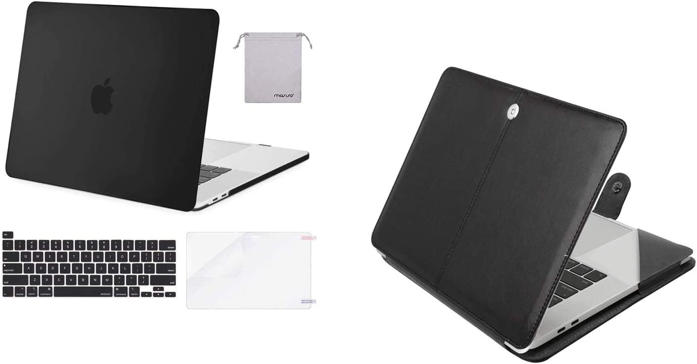 MOSISO Plastic Hard Shell Case & Keyboard Cover & Screen Protector & Storage Bag & PU Leather Folio Sleeve Compatible with MacBook Pro 16, Black