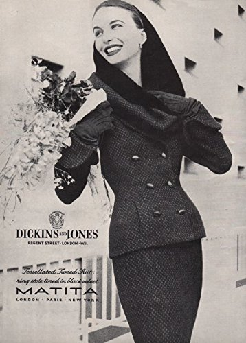 matita-dickins-jones-tessellated-tweed-suit-ring-stole-fashion-advert-1955-old-print-antique-print-v