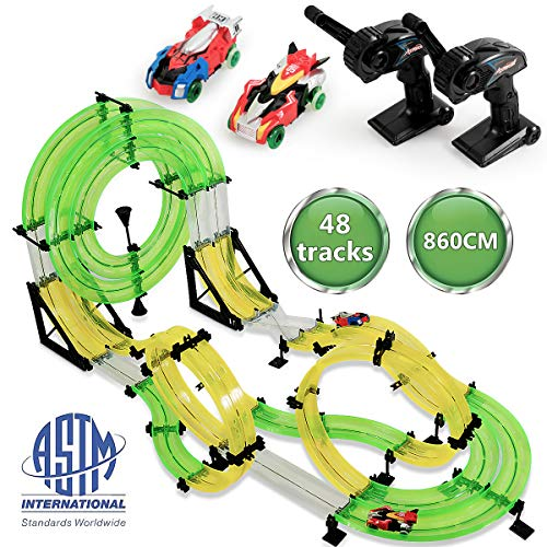 Costzon Car Racing Track Set, 860cm Double Rail Hand Rolling Slot Car Playset, High Speed Race Car with 3D Super Track, 2 RC Cars, 2 Remote Controllers, DIY Assembly Toys for Party Game from Costzon