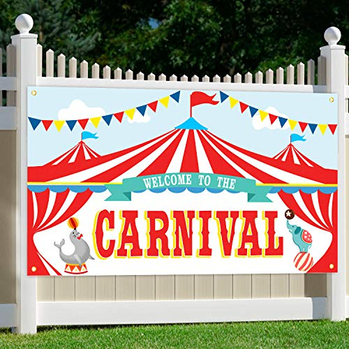 MORDUN Carnival Party Supplies | Circus Decorations | Carnival Theme Large Backdrop Banner Sign for Kids Birthday School Outdoor Home Wall Decor -
