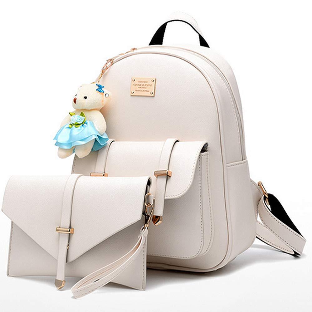 BAG WIZARD Fashion Shoulder Bag Rucksack Faux Leather Women Girls Ladies Backpack Purse Set Travel Bag