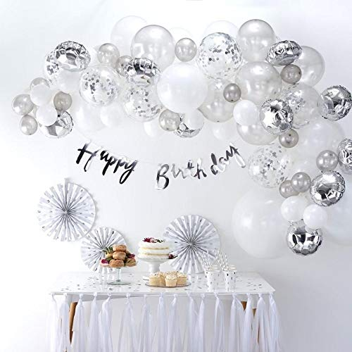 Ginger Ray Silver Balloon Arch Kit with Confetti Balloons Party Decorations - 70 Balloons in Assorted Sizes - Balloon Arches]()