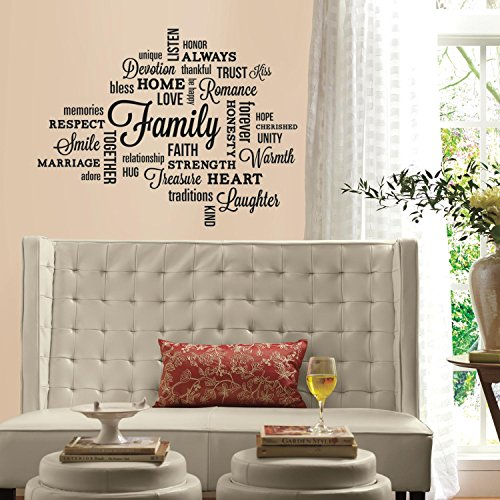 RoomMates RMK2741SCS Family Quote Peel and Stick Wall Decals (Word Wall Art Sticky)