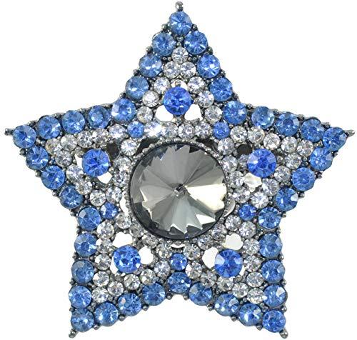 Gyn&Joy Gunmetal Tone Blue Grey Colored Crystal Rhinestones Twinkle Bling Star Brooch Pin (Blue)