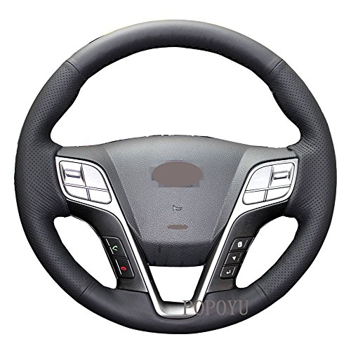 Eiseng DIY Genuine Leather Car Steering Wheel Cover for 2013 2014 2015 2017 Hyundai Santa Fe 4dr SUV Accessories (Black thread) ()
