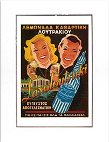 Vintage Greek City Photos Peloponnese - Corinthia, Replicated Advertising Poster Loutraki Baths - Corinthia Bath