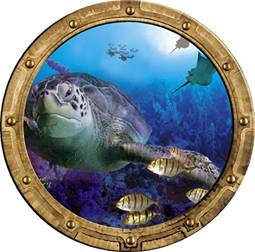 Cheap 24″ Porthole 3D Window Wall Decal Under The Sea #2 RUSTIC Port Scape Sea Turtle Fish Coral Reef Ocean Vinyl Sticker Kids Wall Art Decor