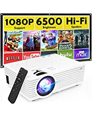"""$59 » Mini Video Projector with 6500 Brightness, 1080P Supported, Portable Outdoor Movie Projector, 176"""" Display Compatible with TV Stick, HDMI, USB, VGA, AV for Home Entertainment"""