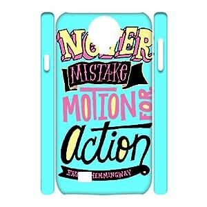 3D [Funny Design] Never Mistake Motion for Action Case For Samsung Galaxy S4, Samsung Galaxy S4 Case Kawaii Hardshell For Girls {White}