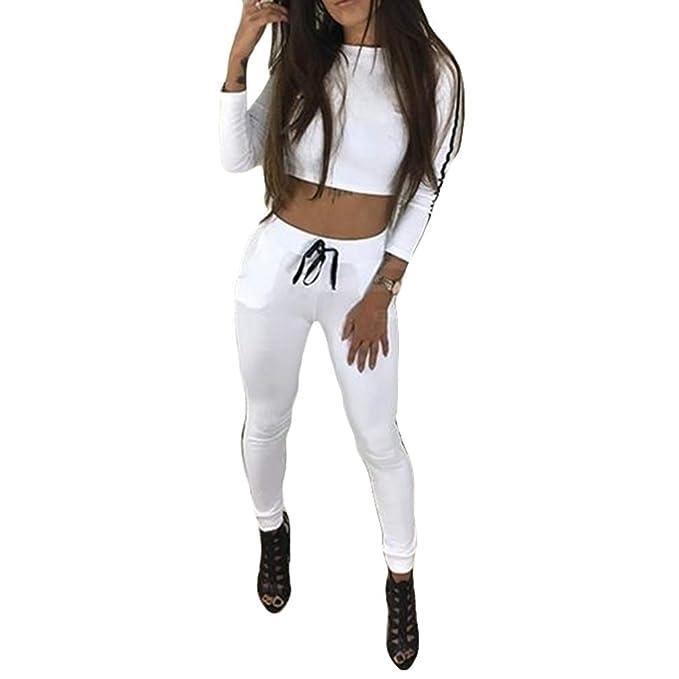 ... De Chándal De Mujer Manga Larga Top Corto De Rayas Sudadera + Pantalones  Joggers Trajes Deportivos 2 Piezas De Chándal Completo S-XL  Amazon.es  Ropa  y ... 4d42a0523d22