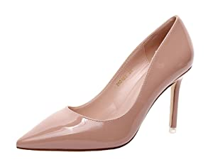 Jiandick Womens Patent Leather High Heels Evening Wedding Stiletto Party Prom Dress Pumps