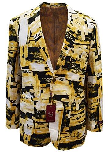 SILVERSILK Men's Fancy Linen Jacket- Abstract Brush Stroke Design (Medium, TAN/Mustard)
