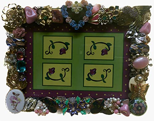 Floral & Gold Tone Photo, Picture Frame Handcrafted From Recycled Vintage Jewelry, Holds 5