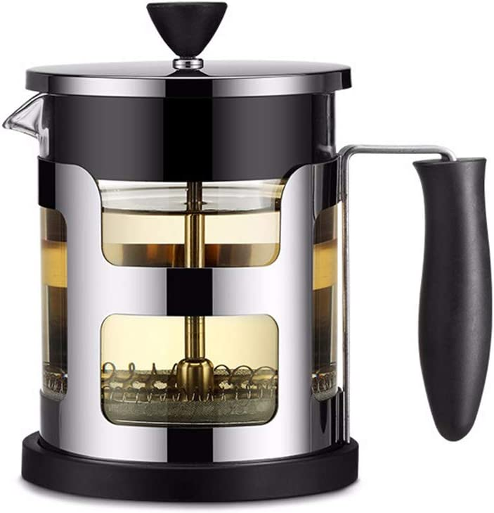 Tetera manual para café o café o té de acero inoxidable con filtro de percolador, color negro 1.000 ml