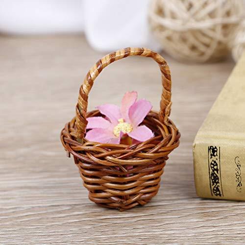 RubyShop724 Rattan Weaving Storage Basket Fruit Cosmetics Tea Picnic Storage Box OrganizerSL (Coffee) (Rattan Kooboo)