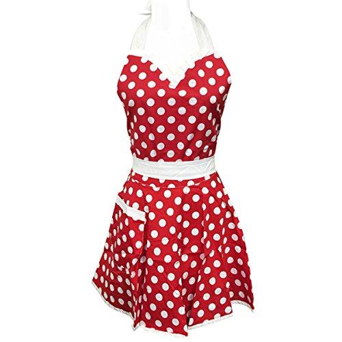 Wrapables Adjustable Flirty Hostess Apron, Red Polka Dots (Dot Apron)