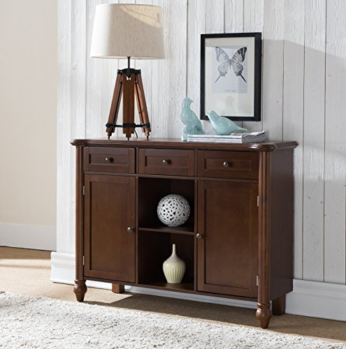 Kings Brand Furniture Wood Sideboard Buffet Cabinet Console Table, Walnut (Buffet Walnut Server)