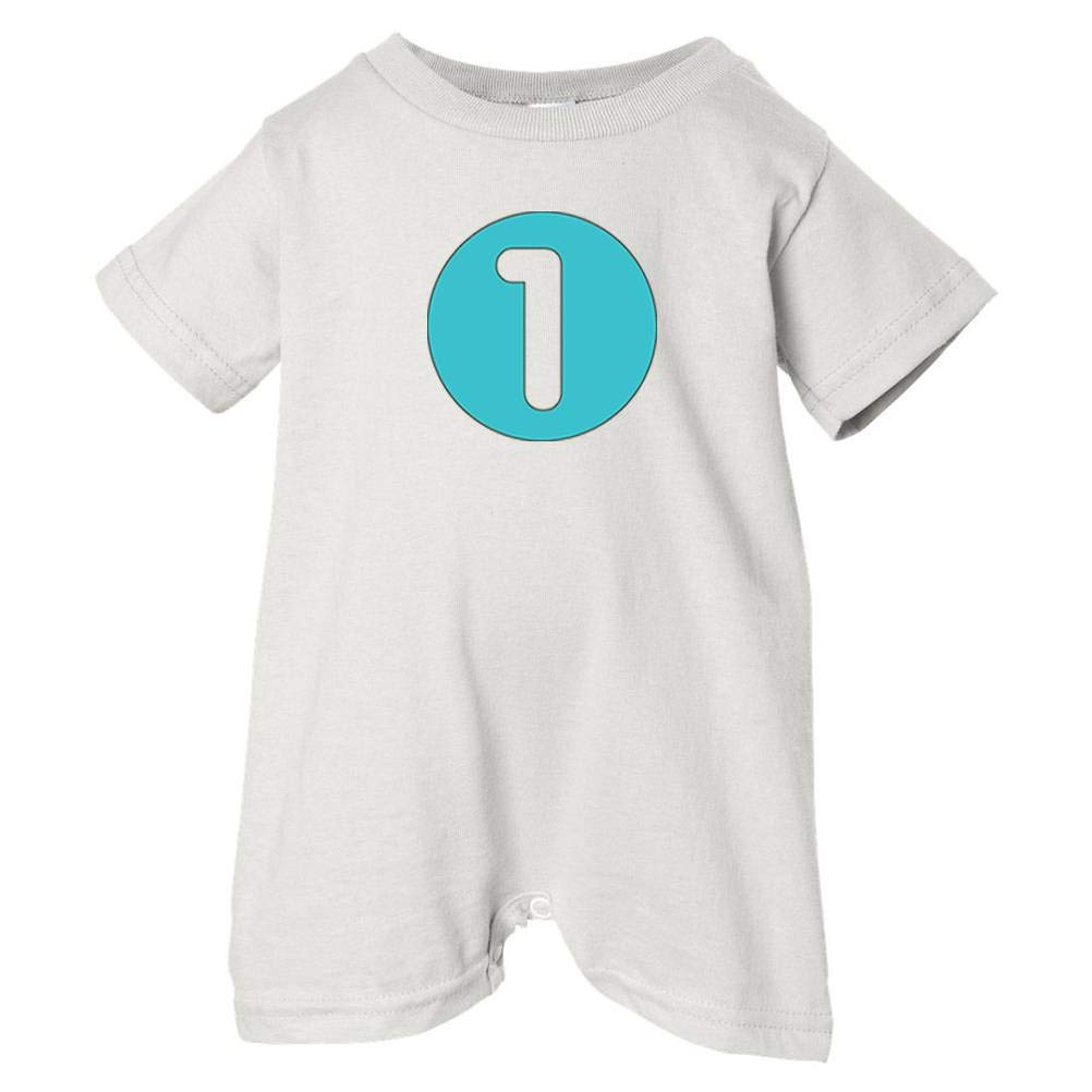 Festive Threads Unisex Baby 1 T-Shirt Romper Blue and Brown Circle