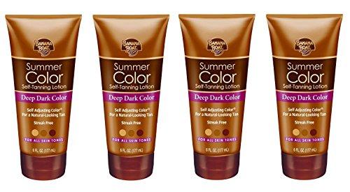 Banana Boat Summer Color Sunless Lotion, Deep Dark Color, 6 Oz (Pack of 4) + Free Makeup Blender
