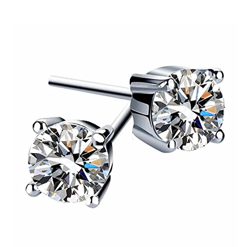 - BGTY 925 Sterling Silver White Cubic Zirconia Four-claw Stud Earrings Set for Women (in size 1.5ct)