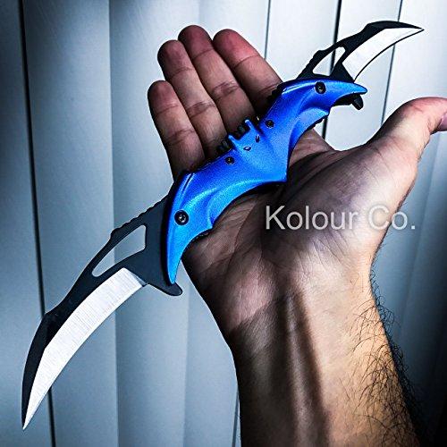 Batman Blue Knife Spring Assisted Folding Blade Pocket Dark Knight Joker NEW
